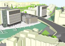 An artist's impression of the proposed new student accommodation on Brayford Marina