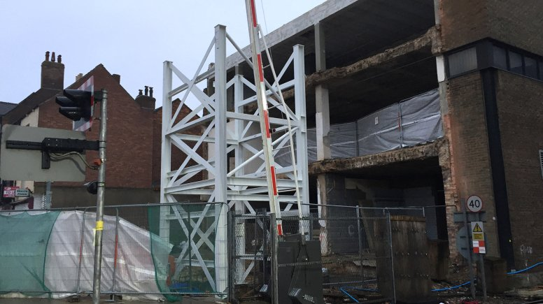 The Lincoln High Street level crossing footbridge is finally beginning to take shape. Photo: The Lincolnite