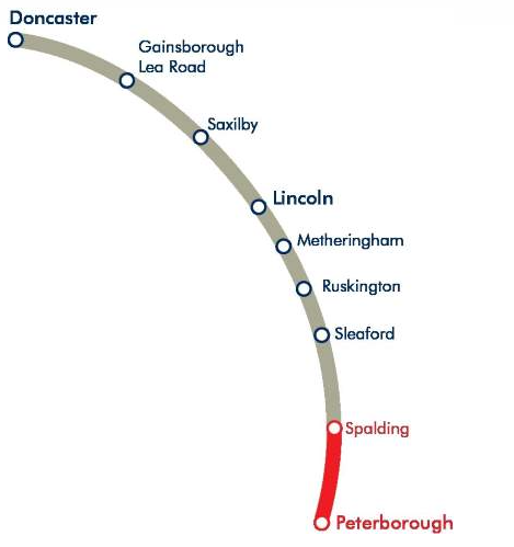 Delays on the Lincoln to Peterborough route.