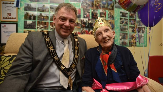 Elsie Horsewood, with Mayor of Lincoln, Councillor Andrew Kerry. Photo: Steve Smailes for The Lincolnite