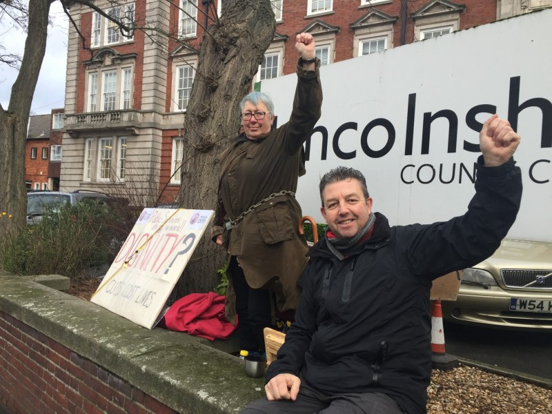 Elaine Smith and Peaceful Warrior outside Lincolnshire County Council offices.