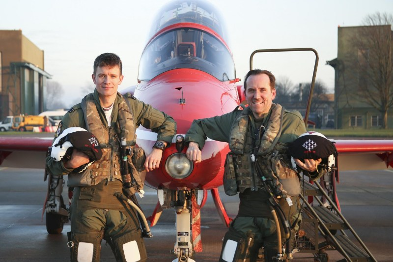 Presenter Ben Miller straps into a jet from the Royal Air Force Aerobatic Team, the Red Arrows, at RAF Scampton, watched by Red 7, Flight Lieutenant Tom Bould, for ITV's new show, It's Not Rocket Science. Picture by Corporal Steve Buckley, MoD/Crown Copyright 2016.