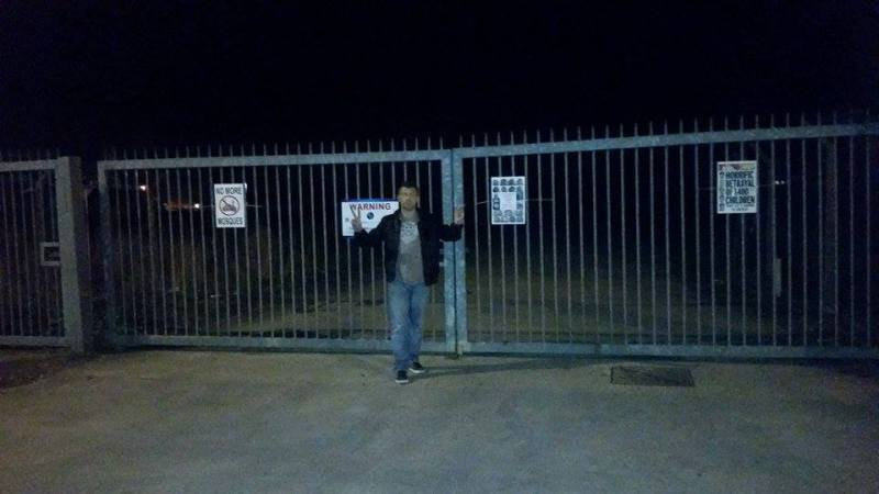 Paul Whiteside of the EDL posted pictures of himself outside the gates on social media.