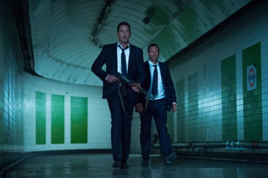 Gerard Butler and Aaron Eckhart in London Has Fallen. Photo by Focus Features.