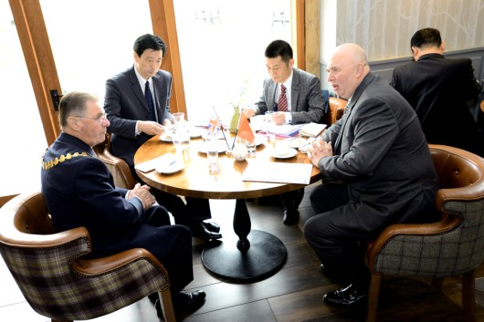 Representative of Lincolnshire and Hunan discuss relations. Photo: Stuart Wilde