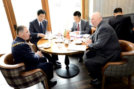 Representative of Lincolnshire and Hunan discuss relations. Photo: Stuart Wilde