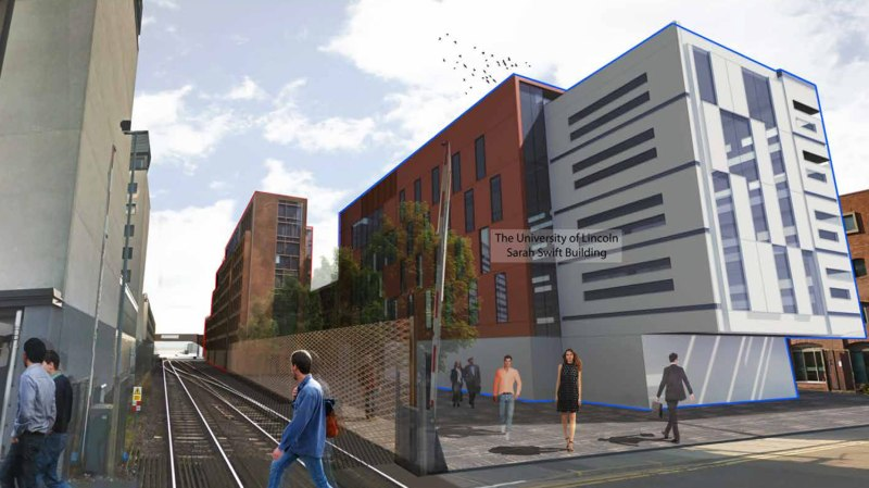 The buildings would sit behind the university's Sarah Swift Building, which is currently under construction. Artist impressions: Stem Architects