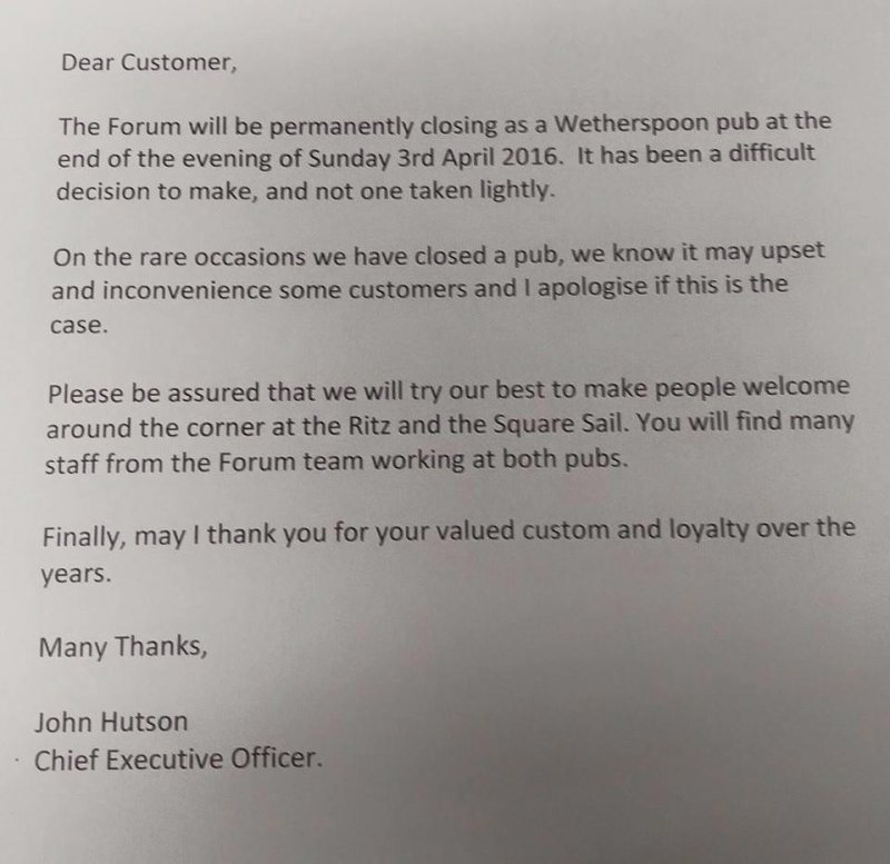 A letter to customers from the chain's chief exec