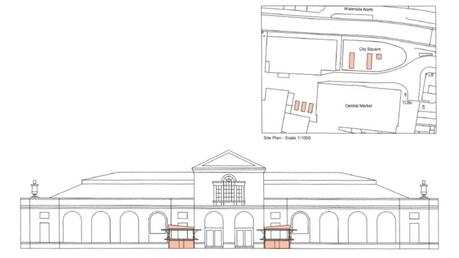 The temporary location of the some of the market stalls in City Square and next to the Central Market