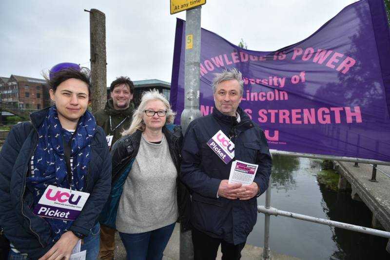 UCU members from the University of Lincoln are taking part in two days of strike action. Photo: Steve Smailes for The Lincolnite
