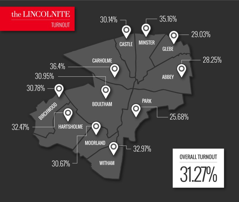 Turnout map for the 2016 City of Lincoln Council election. Photo: The Lincolnite