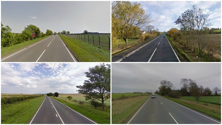 The petition is calling for the A15 (top left - by RAF Waddington), A52 (top right - by Barrowby/Grantham), A16 (bottom left - in Lincolnshire Wolds) and A17 (bottom right - near Heckington) to be turned into dual carriageways. Photos: Google Street View