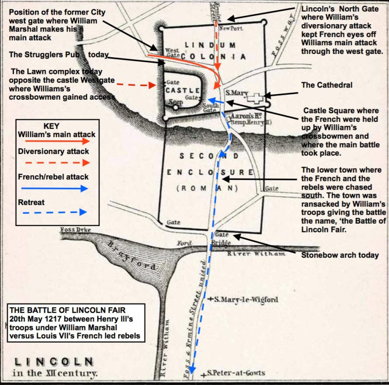 Medieval battle map showing Lincoln's familiar landmarks.