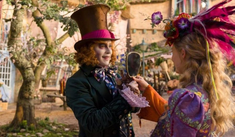 Johnny Depp and Mia Wasikowska in Alice Through the Looking Glass. Photo: Disney