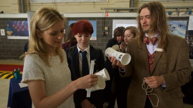 Countdown co-presenter Rachel Riley speaking to pupils at the STEM day at RAF Scampton. Photo: Steve Smailes for The Lincolnite