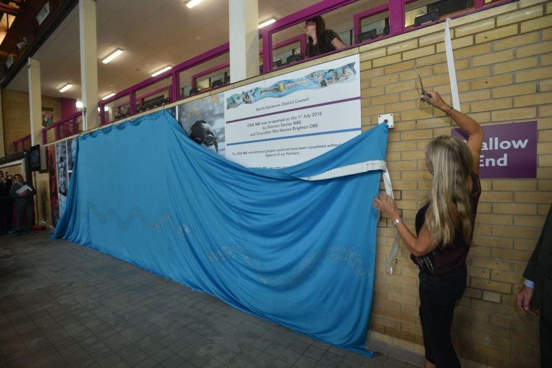 Sharron Davies unveiled the new signage in the swimming area of the new centre. Photo: Steve Smailes for The Lincolnite