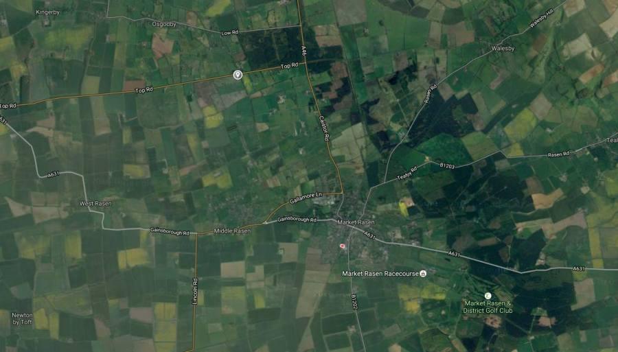 A1103 Top Road, Osgodby near Market Rasen. Map: Google