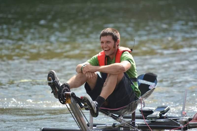 Guy Martin on Brayford Pool preparing for his now-cancelled record attempt. Photo: Tobias Thompson