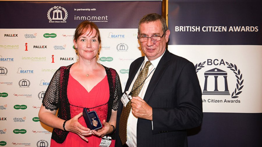 Frances Kelly receiving her BCA award from Adrian Russell, group deputy chairman at supporting partner Pall-Ex
