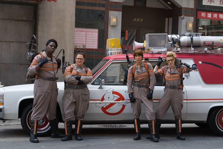 Leslie Jones, Melissa McCarthy, Kristen Wiig and Kate McKinnon in Ghostbusters. Photo by Sony Pictures.