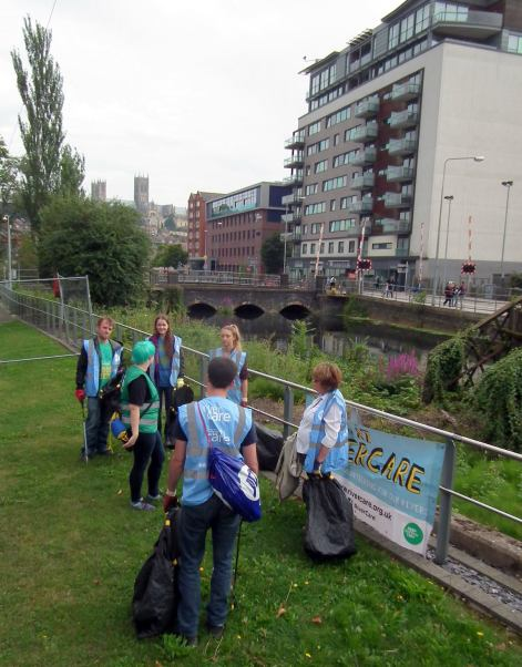 Volunteers from River Care Lincoln Witham cleared the river and its banks of rubbish. Photo: River Care