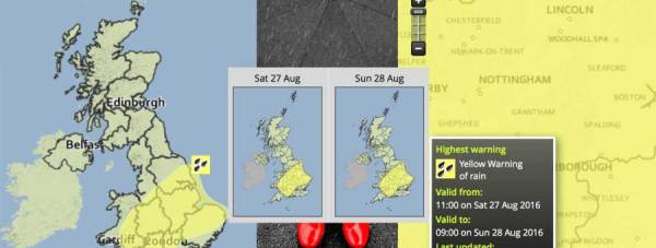 Thundery showers are likely to become widespread and heavy over Lincolnshire through the course of Saturday and overnight into Sunday morning, the Met Office forecasts.