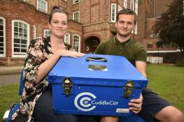 Amanda Naylor and Dan Nicholson with the cuddle cot they donated in memory of Myla Grace. Photo: Steve Smailes for The Lincolnite