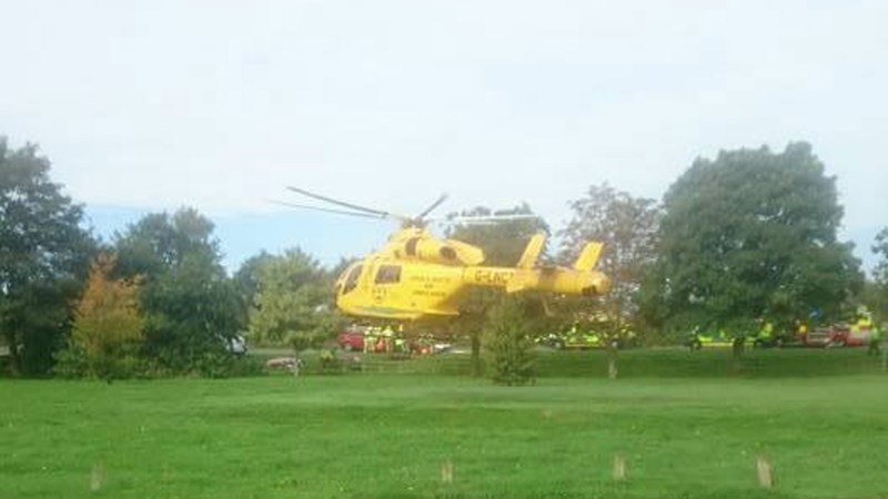 Air ambulance at the scene.