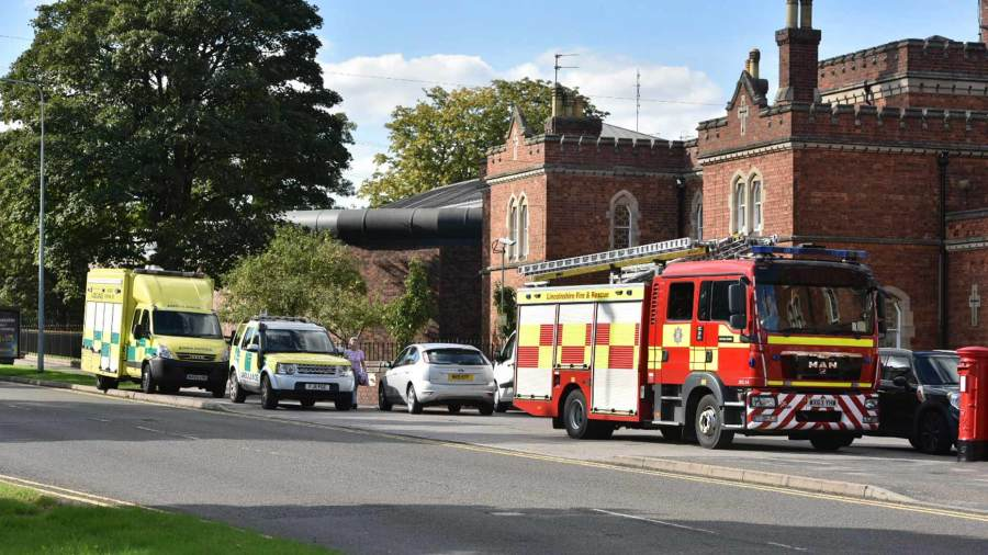 Emergency services attending a call at Lincoln Prison. Photo: Steve Smailes for The Lincolnite