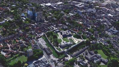 Lincoln Cathedral and Lincoln Castle. Photo: Google Earth