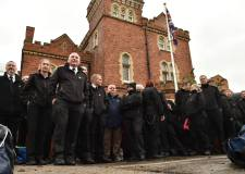 Around 40 officers are protesting outside Lincoln Prison on Tuesday, November 15. Photo: Steve Smailes