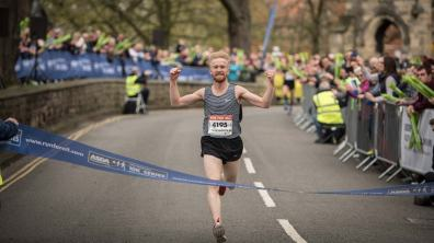 First one through the finish line was Joe Wilkinson. Photo: Steve Smailes for The Lincolnite