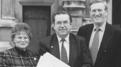 Presenting a 4000 plus signature petition to parliament for a complete Eastern Bypass in 1996. (L to R) Cllr Mrs Jackie McAll, David Chidgey, Lib Dem Transport Spokesperson.