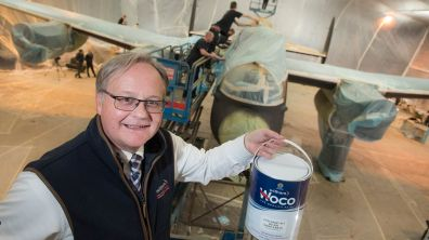 Richard Scarbrough (Witham Group) in front of Just Jane as she is being prepped for painting Photo: Steve Smailes