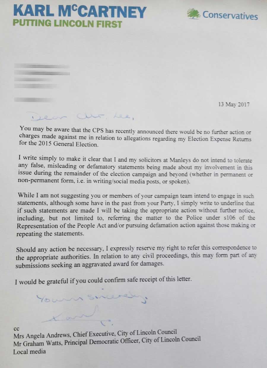 Karl mccartney issues threatening letter to lincoln mp candidates a copy of the letter sent to each candidate standing in the general election for the lincoln constituency by conservative karl mccartney expocarfo Choice Image