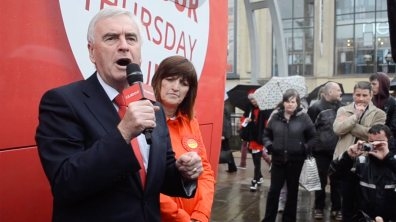 Labour Shadow Chancellor John McDonnell with MP Karen Lee. Photo: Emily Norton for The Lincolnite