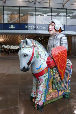 A Lincoln Knight in front of King's Cross Station.