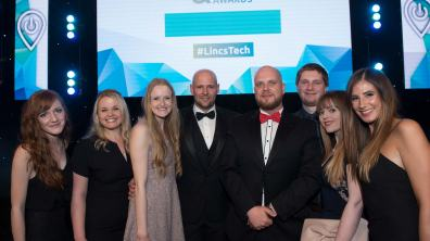 The Stonebow Media team at the Lincolnshire Digital & Tech Awards. Photo: Steve Smailes for The Lincolnite