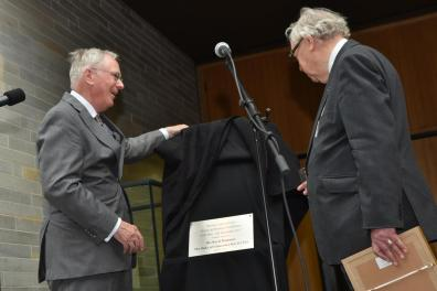 HRH The Duke of Gloucester, Prince Richard and Lord Cormack unveil a plaque at The Collection. Photo: Steve Smailes / The Lincolnite