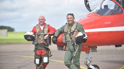 (L-R) Squadron Leader Mike Ling and Rory Underwood MBE. Photo: Steve Smailes for The Lincolnite