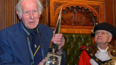 Last year's winner Ray Hooley, who received his award from the then Mayor of Lincoln Councillor Yvonne Bodger