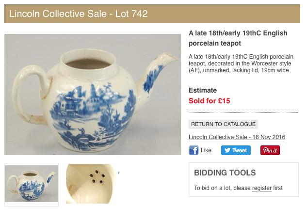 Broken teapot sold for £15 at Lincoln auction bags bargain