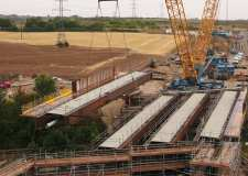 Lincoln Bypass bridge beams lifted into place