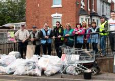 Volunteers pull bags upon bags of rubbish from Lincoln river