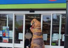 Corona-saurus rex: Roar-some shopping trip for Lincoln dinosaur