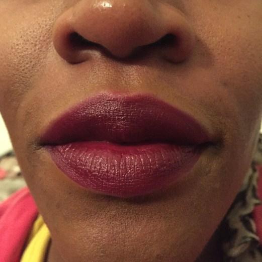 Lip swatch of burgundy lipstick