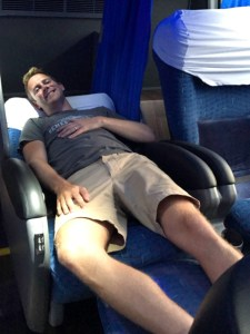 Scott in a lie-flat seat on the bus between Florianópolis and Iguazu Falls.