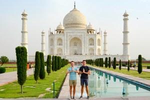 Scott Swiontek and John Line in front of the Taj Mahal, Agra, Uttar Pradesh, India.