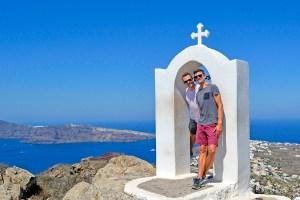 Scott Swiontek and John Line hiking between Fira and Oia in Santorini, Greece.