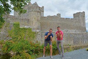 John Line and Scott Swiontek in front of Cahir Castle, Ireland.